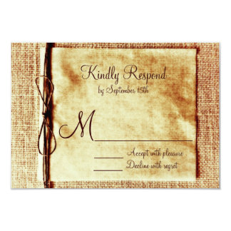 Rustic Burlap Twine Distressed Wedding RSVP Cards Invites