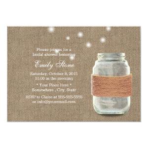 Rustic Burlap Twine & Mason Jar Bridal Shower Custom Invite