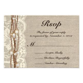 Rustic Burlap Twine Pearls Wedding Invitation