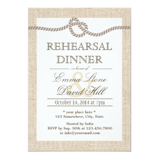 "Rustic Burlap Tying the Knot Rehearsal Dinner 5"" X 7"" Invitation Card"
