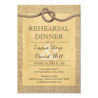 Rustic Burlap Tying the Knot Rehearsal Dinner 5x7 Paper Invitation Card