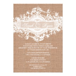 Rustic Wedding Burlap Lace Wedding Invitations