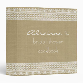 Rustic Burlap Vintage Lace Bridal Shower Cookbook Binder