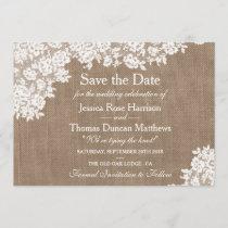 Rustic Burlap & Vintage Lace Wedding Save The Date
