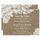 Rustic Burlap & Vintage Lace Wedding Save The Date Card