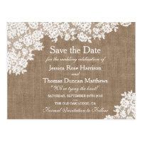 Rustic Burlap & Vintage Lace Wedding Save The Date Postcard