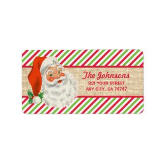 Rustic Burlap Vintage Santa Christmas Stripes Label