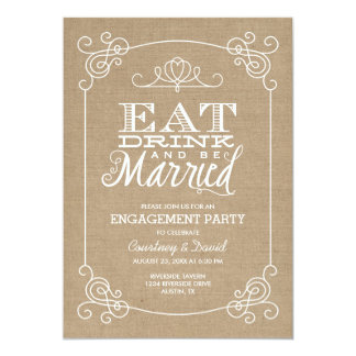 Rustic Burlap Vintage Typography Engagement Party Card