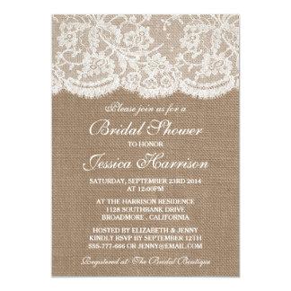 Rustic Burlap & Vintage White Lace Bridal Shower Card