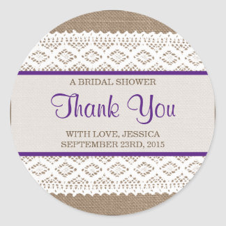 Rustic Burlap & Vintage White Lace Bridal Shower Classic Round Sticker