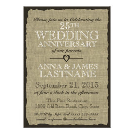 Rustic Burlap Wedding Anniversary Custom Announcement