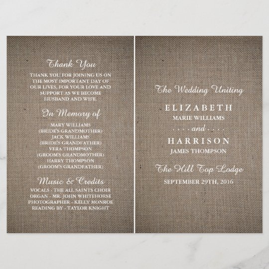 rustic burlap wedding bi fold program template zazzle com