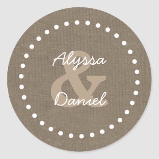 Rustic Burlap Wedding Bride Groom A06 with Dots Classic Round Sticker