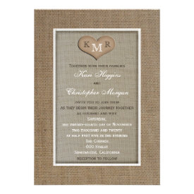 Rustic Burlap Wedding Invitation with Monogram Cards