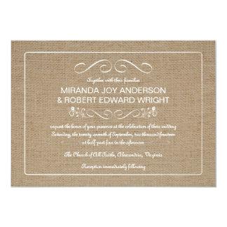 Rustic Burlap Wedding Invitations Natural Tan