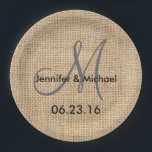 "Rustic Burlap Wedding Monogram Names Date Paper Plate<br><div class=""desc"">Rustic Burlap Wedding Monogram Names Date Paper Plates. Add text or a monogram and date to personalize these plates.</div>"