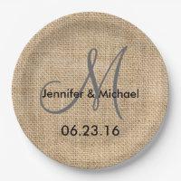 Rustic Burlap Wedding Monogram Names Date Paper Plate