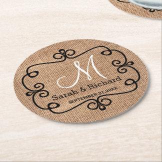 Rustic Burlap Wedding Monogram Round Paper Coaster