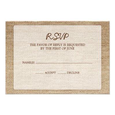 Rustic Burlap Wedding RSVP Response Card