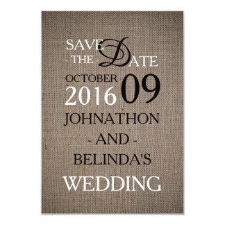 Rustic Burlap Wedding Save The Date Card