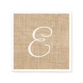 Rustic Burlap Wedding Simple Monogram Standard Cocktail Napkin