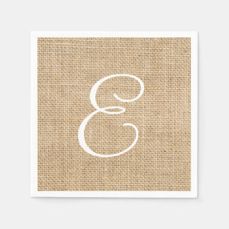 Rustic Burlap Wedding Simple Monogram Paper Napkin