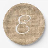 Rustic Burlap Wedding Simple Monogram Paper Plate