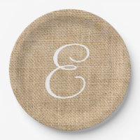Rustic Burlap Wedding Simple Monogram Paper Plate