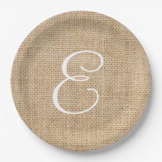 Rustic Burlap Wedding Simple Monogram Paper Plate at Zazzle