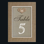 """Rustic Burlap Wedding Table Numbers Cards<br><div class=""""desc"""">This table number card features a burlap look background which almost appears like a frame around the primary part of the design. A lighter burlap is used inside the &quot;frame&quot; where a heart appears with your monogrammed initials on it. The word table appears below, as does a number which you...</div>"""