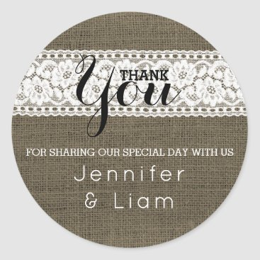 Beach Themed Rustic Burlap Wedding Thank You Favor Lace Classic Round Sticker
