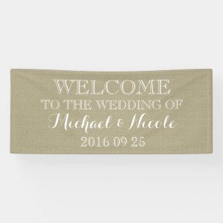 Rustic Burlap Wedding Welcome Sign Custom Banner
