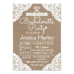 Rustic Burlap & White Lace Bachelorette Party Card