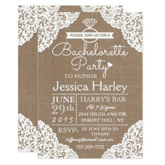 Rustic Burlap & White Lace Bachelorette Party Invitation