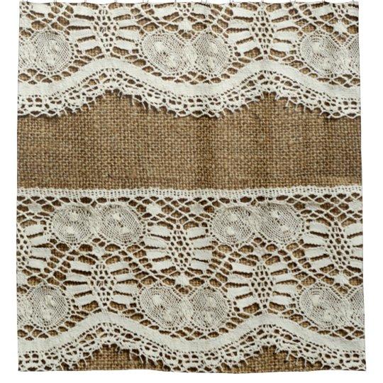 rustic burlap white lace vintage victorian grunge shower curtain. Black Bedroom Furniture Sets. Home Design Ideas