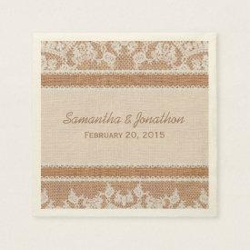 Rustic Burlap & White Lace Wedding Paper Napkin
