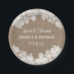 "Rustic Burlap &amp; White Lace Wedding Paper Plates<br><div class=""desc"">Rustic Burlap &amp; White Lace Wedding Paper Plates 