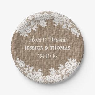 Rustic Burlap u0026 White Lace Wedding Paper Plates  sc 1 st  Zazzle & Burlap Plates | Zazzle