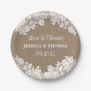 Rustic Burlap & White Lace Wedding Paper Plates at Zazzle