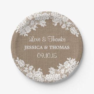 Rustic Burlap & White Lace Wedding Paper Plates
