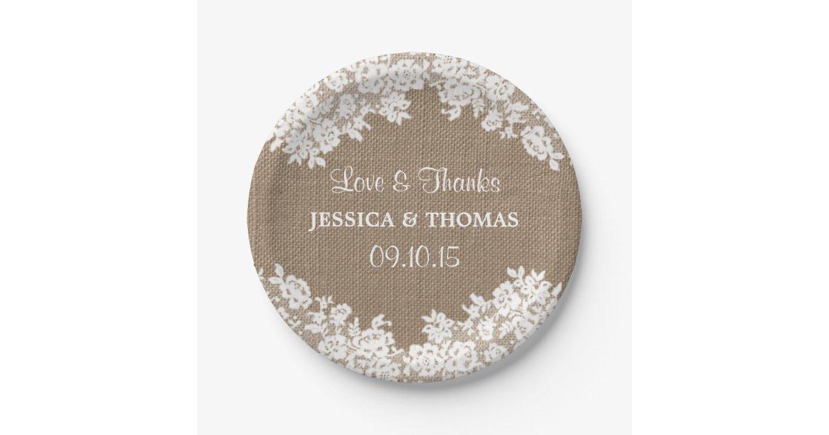 Rustic Burlap & White Lace Wedding Paper Plates | Zazzle.com