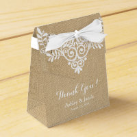 Rustic Burlap White Lace Wedding Thank You Favor Box