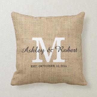 Rustic Burlap White Monogram Wedding Keepsake Pillow