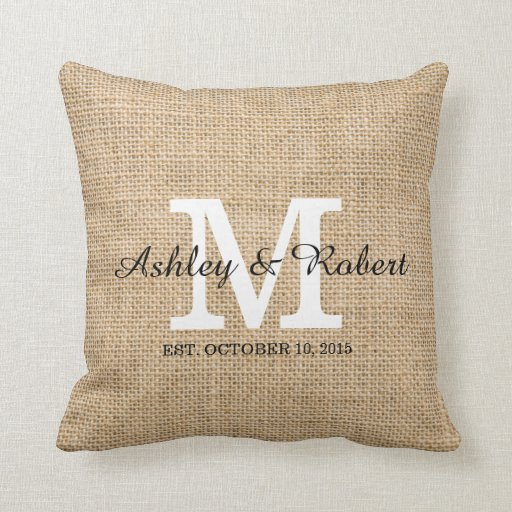 Rustic Burlap White Monogram Wedding Keepsake Throw Pillow