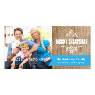 Rustic Burlap with Blue Banner Photo Christmas Customized Photo Card