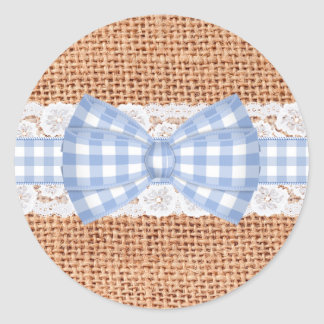 Rustic Burlap with Blue Gingham Wedding Classic Round Sticker