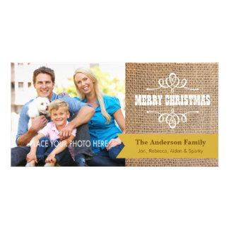 Rustic Burlap with Gold Banner Photo Christmas Custom Photo Card