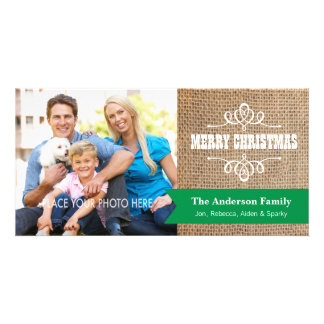 Rustic Burlap with Green Banner Photo Christmas Photo Card Template