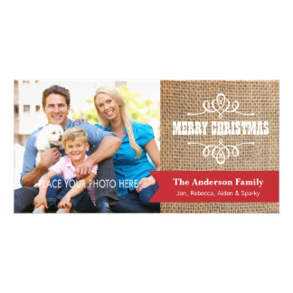 Rustic Burlap with Red Banner Photo Christmas Photo Card Template