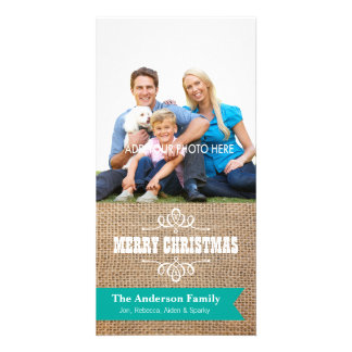 Rustic Burlap with Teal Banner Photo Christmas Card